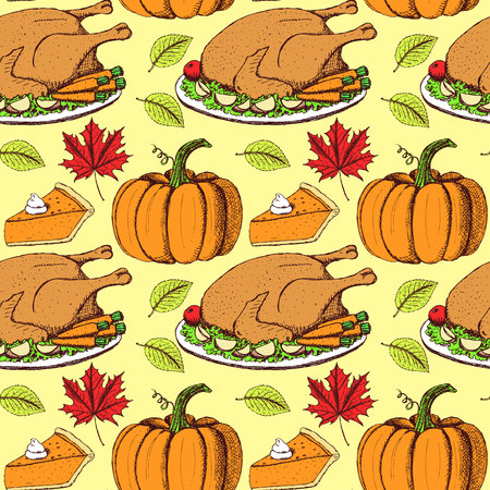 Sketch Thanksgiving seamless pattern in vintage style, vector