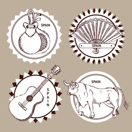 castanets: Sketch set of logo with Spanish symbols in vintage style, vector Illustration
