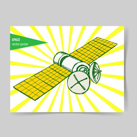satelite: Sketch space satelite in vintage style, vector poster
