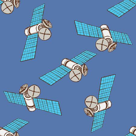 satelite: Sketch space satelite in vintage style, vector seamless pattern