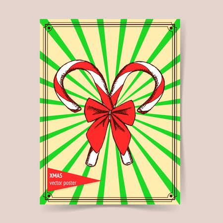 chrismas: Sketch Chrismas candy with bow in vintage style, vector poster Illustration
