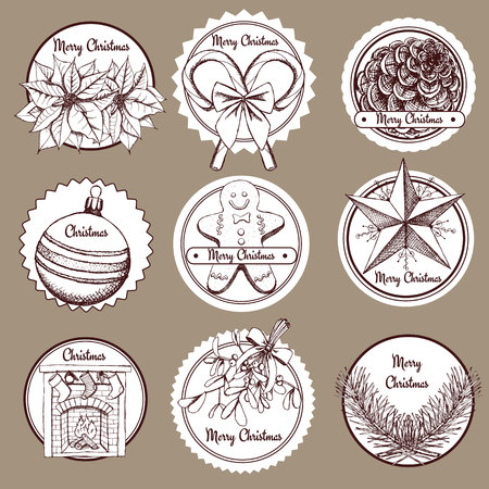 omela: Sketch Chrismas lable in vintage style, vector set Illustration