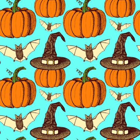 death cap: Sketch Halloween seamless pattern in vintage style, vector