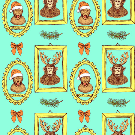 monkey suit: Sketch monkey in Santas hat and chimpanzee with reindeers antlers in frames, vintage style, vector seamless pattern Illustration
