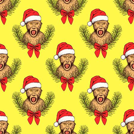 monkey suit: Sketch monkey in Santas hat in vintage style, vector seamless pattern