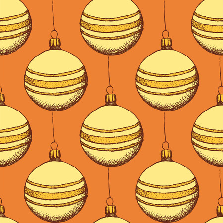 chrismas: Sketch Chrismas tree ball in vintage style, vector seamless pattern