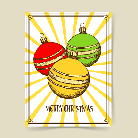 chrismas: Sketch Chrismas tree ball in vintage style, vector poster