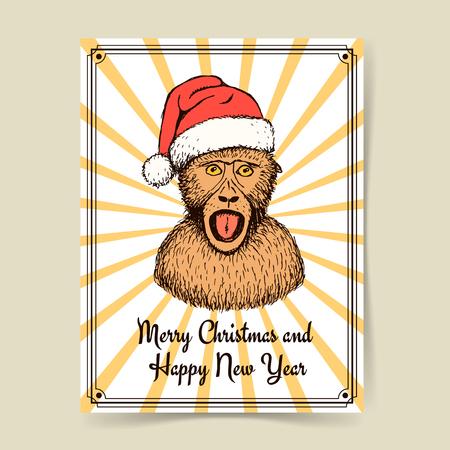monkey suit: Sketch monkey in Santas hat in vintage style, vector poster