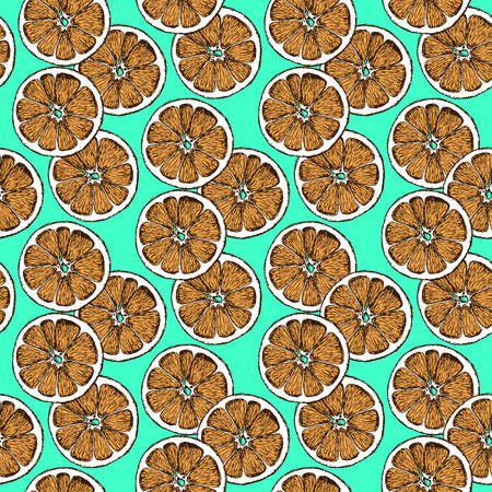 dry: Sketch dry citrus in vintage style, vector Christmas seamless pattern