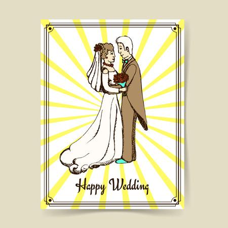 matrimonio feliz: Pares de la boda del bosquejo en estilo vintage, arte del vector