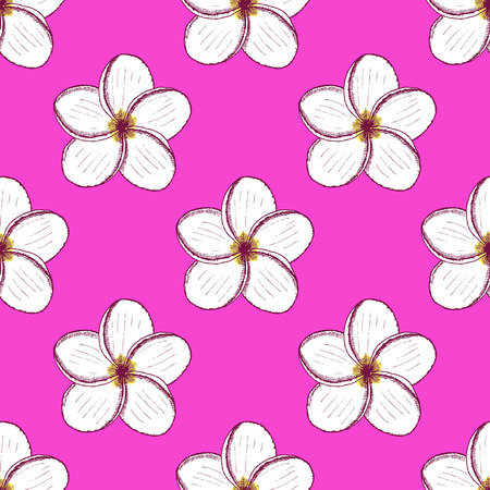 Sketch spa flowersl in vintage style, vector seamless pattern