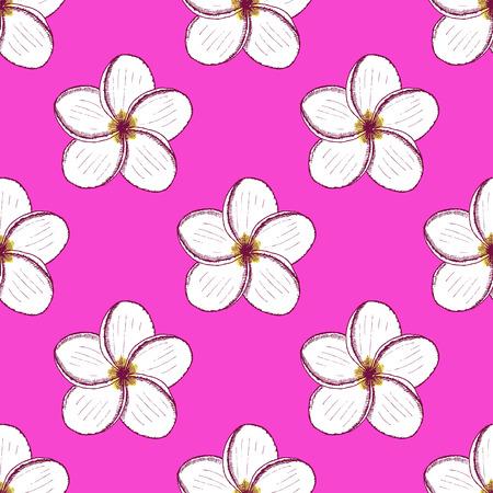 tahiti: Sketch spa flowersl in vintage style, vector seamless pattern