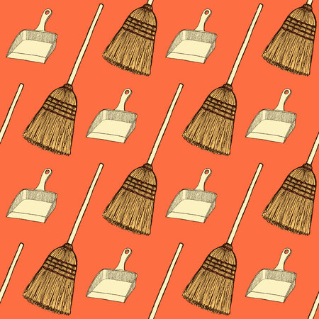 dust pan: Sketch broom and dust pan in vintage style, vector seamless pattern