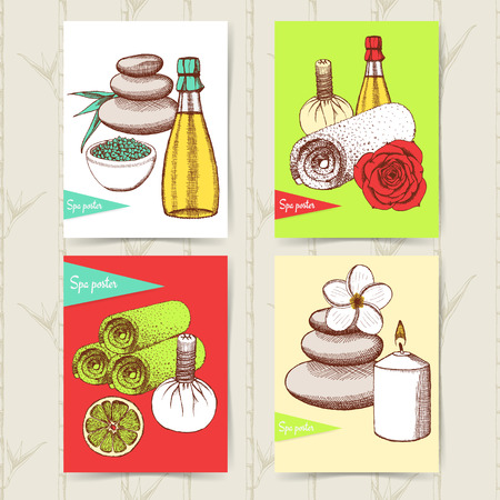 rock salt: Sketch set of spa posters in vintage style, vector