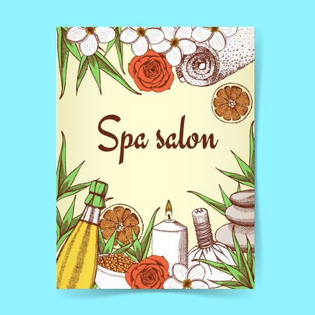 spa collage: Sketch spa poster in vintage style, vector Illustration