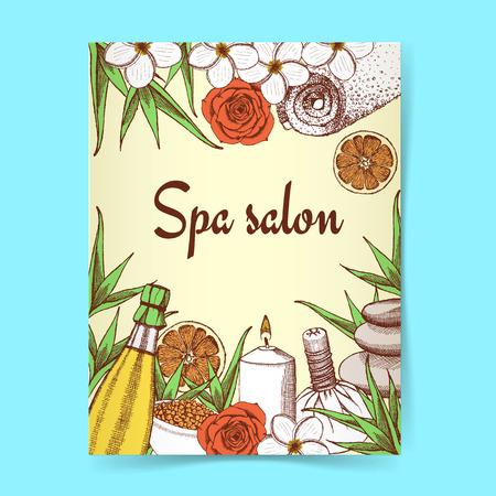 rock salt: Sketch spa poster in vintage style, vector Illustration