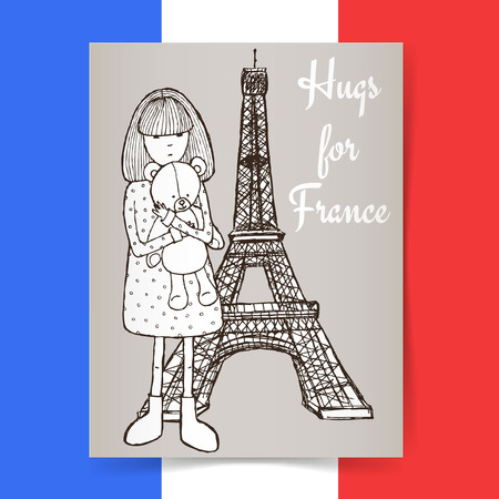 condolence: Sketch condolences for France poster, vector girl with teddy bear and Eiffel tower