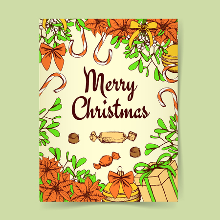 omela: Sketch Christmas background with candies, present and flowers in vintage style, vector Illustration