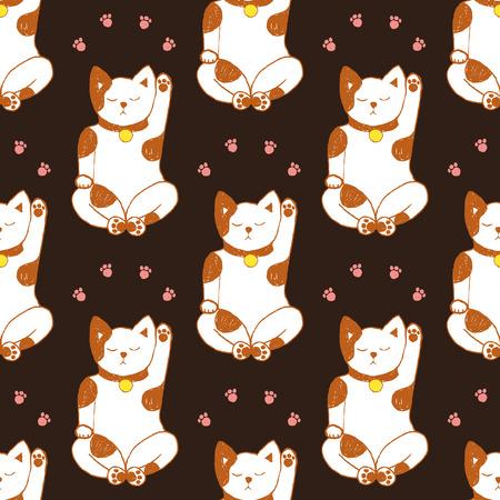 maneki: Sketch maneki neko seamless pattern in vintage style Illustration