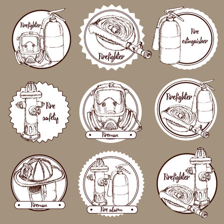 fire plug: Sketch fire safety icons in vintage style