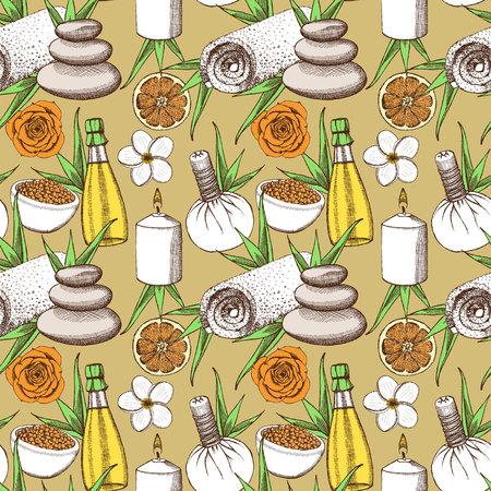rock salt: Sketch spa pattern in vintage style Illustration