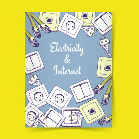 switcher: Sketch electricity and internet poster template in vintage style