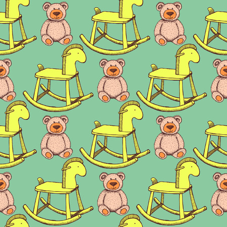 Sketch rocking horse and teddy bear in vintage style, seamless pattern