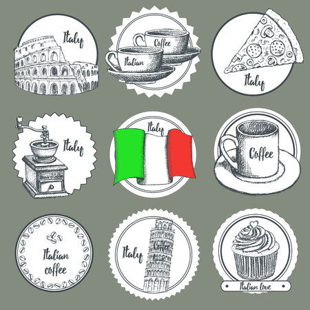 abstract mill: Sketch Italian icons in vintage style