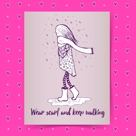 walk through: Sketch girl walking in rain, poster template