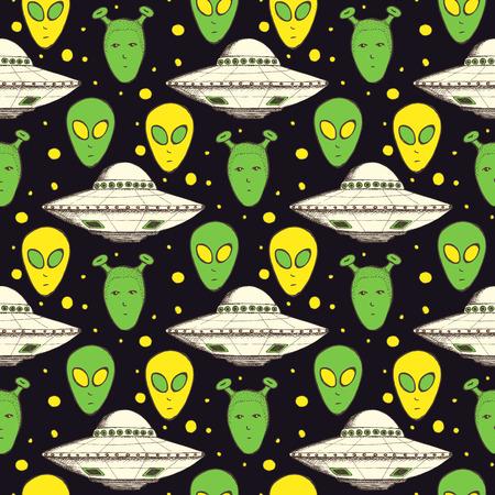 Schets aliens en plaat in vintage stijl, naadloos patroon