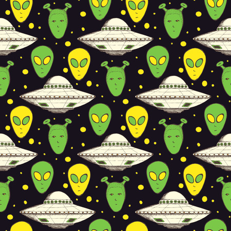 Sketch aliens and plate in vintage style, seamless pattern Illustration