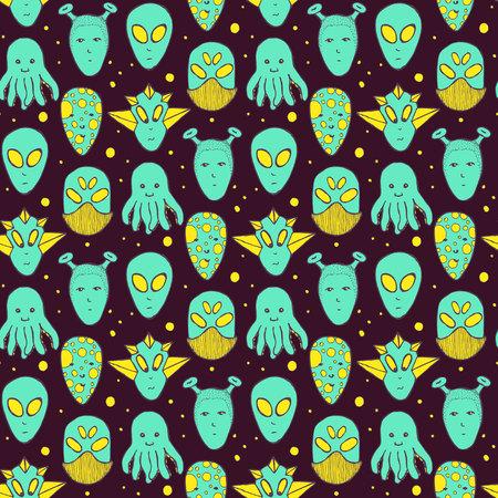 alien face: Sketch aliens faces pattern in vintage style Illustration