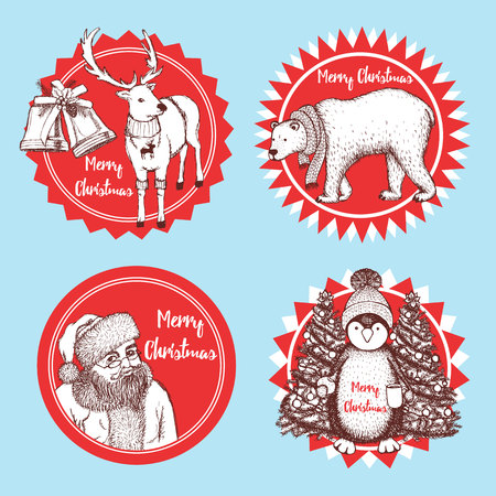 pinguin: Sketch Christmas icons in vintage style