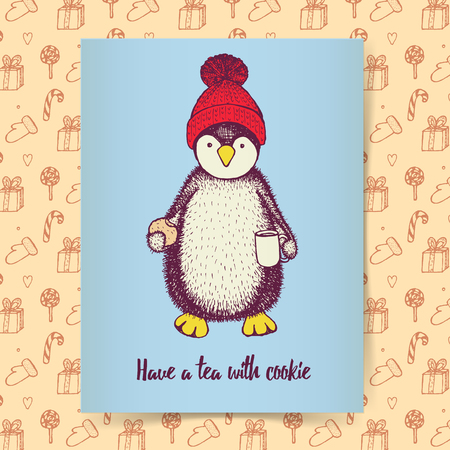 pinguin: Sketch pinguin in hat with cup of tea and cookie in vintage style, Christmas poster template Illustration