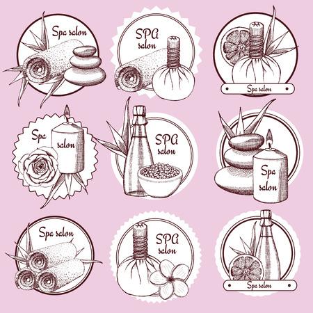 rock salt: Sketch spa  in vintage style, vector Illustration