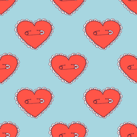 pinned: Sketch pinned heart in vintage style, vector seamless pattern Illustration