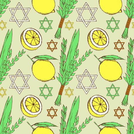 lulav: Sketch Sukkot pattern in vintage style, vector