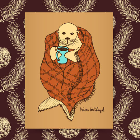 pinecone: Sketch seal in blanket in vintage style, vector holidays post card