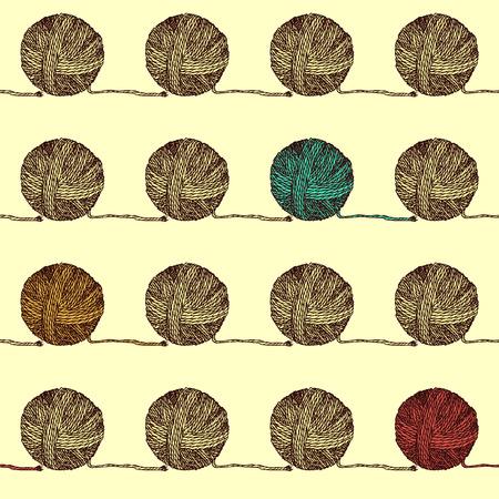 Sketch pelote de laine dans le style vintage, motif sans couture