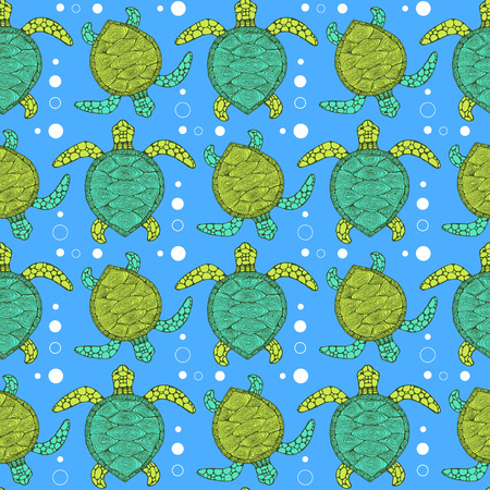 sea  ocean: Sketch sea turtle pattern in vintage style, vector tile