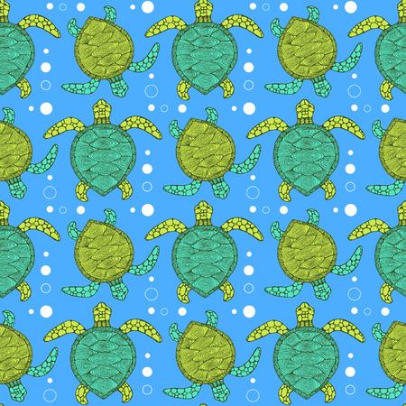 sea waves: Sketch sea turtle pattern in vintage style, vector tile
