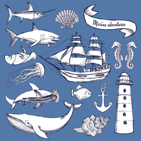 historical: Sketch set of marine elements in vintage style, vector