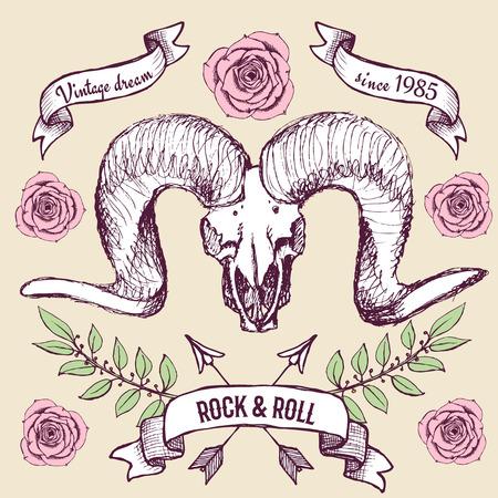 Affiche avec crâne, des rubans et des roses de chèvre dans un style vintage, vecteur