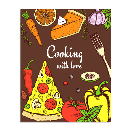 peper: Sketch cooking card in vintage style, vector