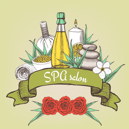 spa collage: Spa salon poster with ribbon in vintage style, vector Illustration
