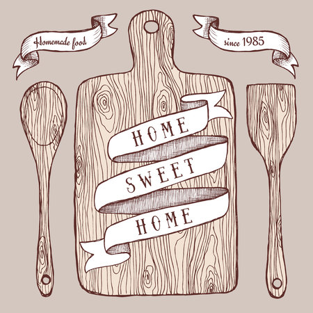 cutting board: Homemade food poster with cutting board in vintage style, vector