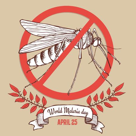 affiche du jour du paludisme dans le style vintage, vecteur