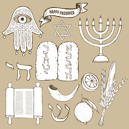 seder: Passover set in vintage style, vector