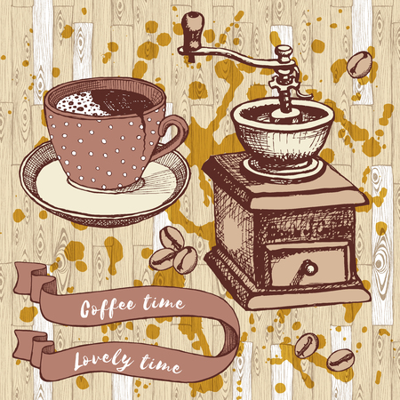 coffee mill: Coffee set with coffee mill and broken cup in vintage style, vector