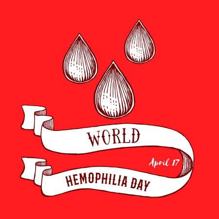 hemophilia: World hemophilia day poster in vintage style, vector